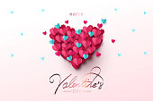 Happy Valentine's Day festive design banner, greeting card or poster. Vector illustration of Love. Big Heart made of small blue and pink origami hearts flying in the sky. Paper art, digital craft