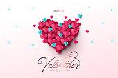 幸せなバレンタインデーのお祝いデザイン バナー、グリーティング カードやポスター。
