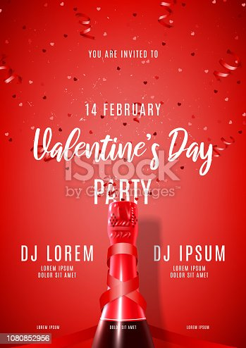 Happy Valentine's Day festive party poster. Vector illustration with top view on realistic bottle of champagne, satin ribbon, red serpentine and confetti. Invitation to nightclub.