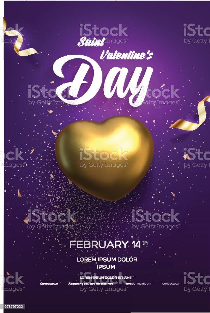 Heureuse Saint-Valentin flyer ou affiche. Vue de dessus sur coeur d'or avec une magnifique toile de fond heureuse saintvalentin flyer ou affiche vue de dessus sur coeur dor avec une magnifique toile de fond – cliparts vectoriels et plus d'images de activité romantique libre de droits