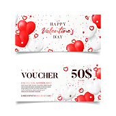 Happy Valentine's Day gift vouchers template. Vector illustration with realistic red hearts and confetti on white background. Horizontal promo banners. Discount coupon usable for invitation or ticket.