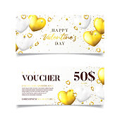Happy Valentine's Day gift vouchers. Vector illustration with realistic golden hearts and confetti on white background. Horizontal promo banners. Discount coupon usable for invitation or ticket.