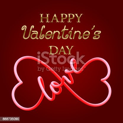 Happy Valentines Day Golden Text And Fluid Symbol Of Infinity Love