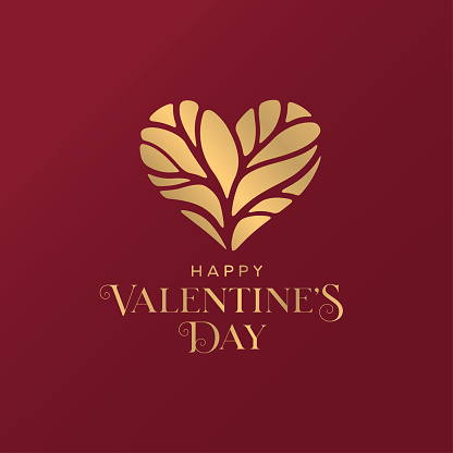 Happy Valentines Day golden typography greeting card. Vector illustration.