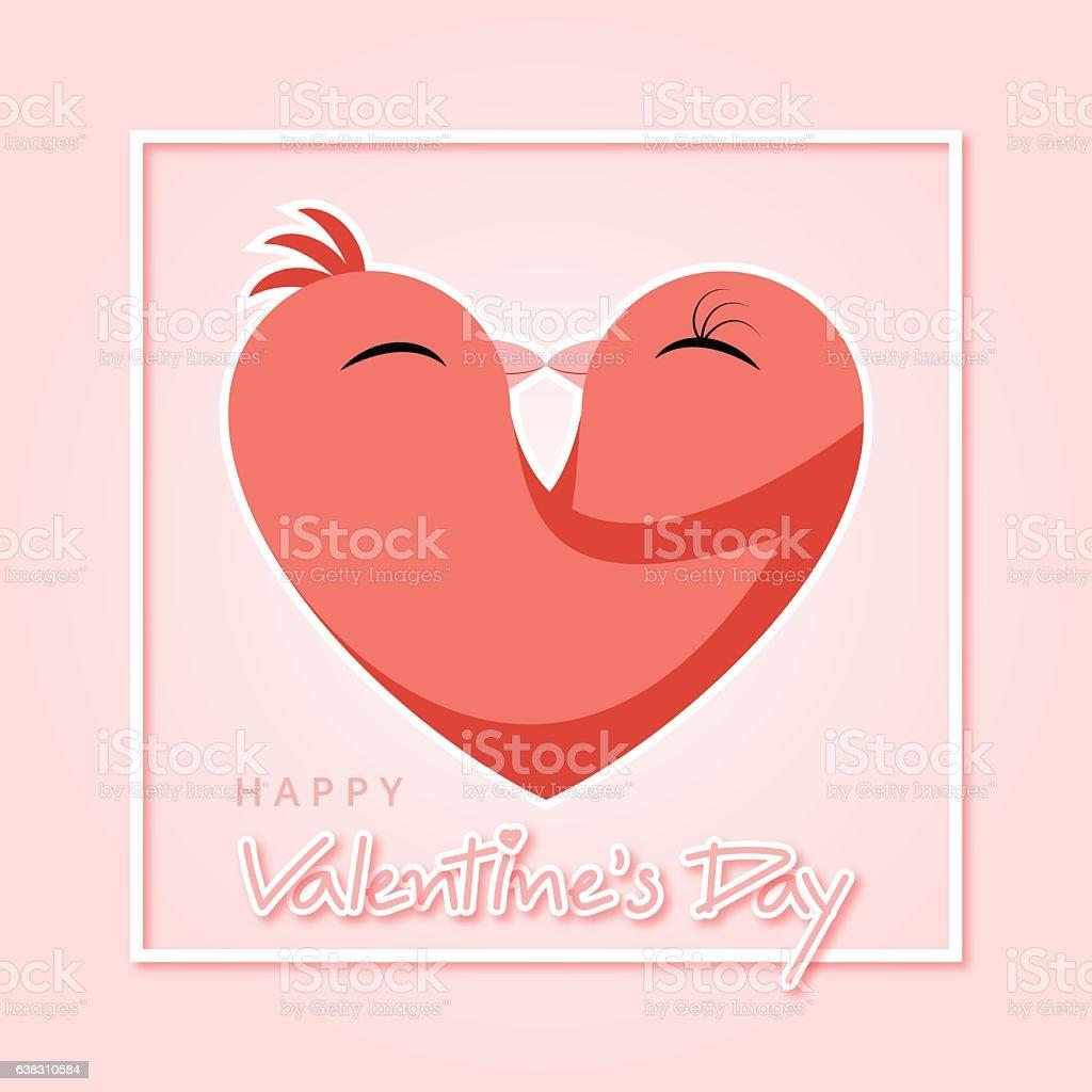 Happy Valentines Day Graphic Design Bird Love In Heart Stock Vector