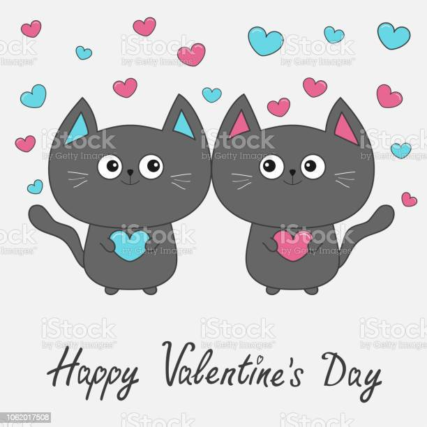 Happy valentines day gray contour cat couple family holding pink blue vector id1062017508?b=1&k=6&m=1062017508&s=612x612&h=exaywvb7eejyp13aave2ipe1zydjbsznfbvycpax5fc=