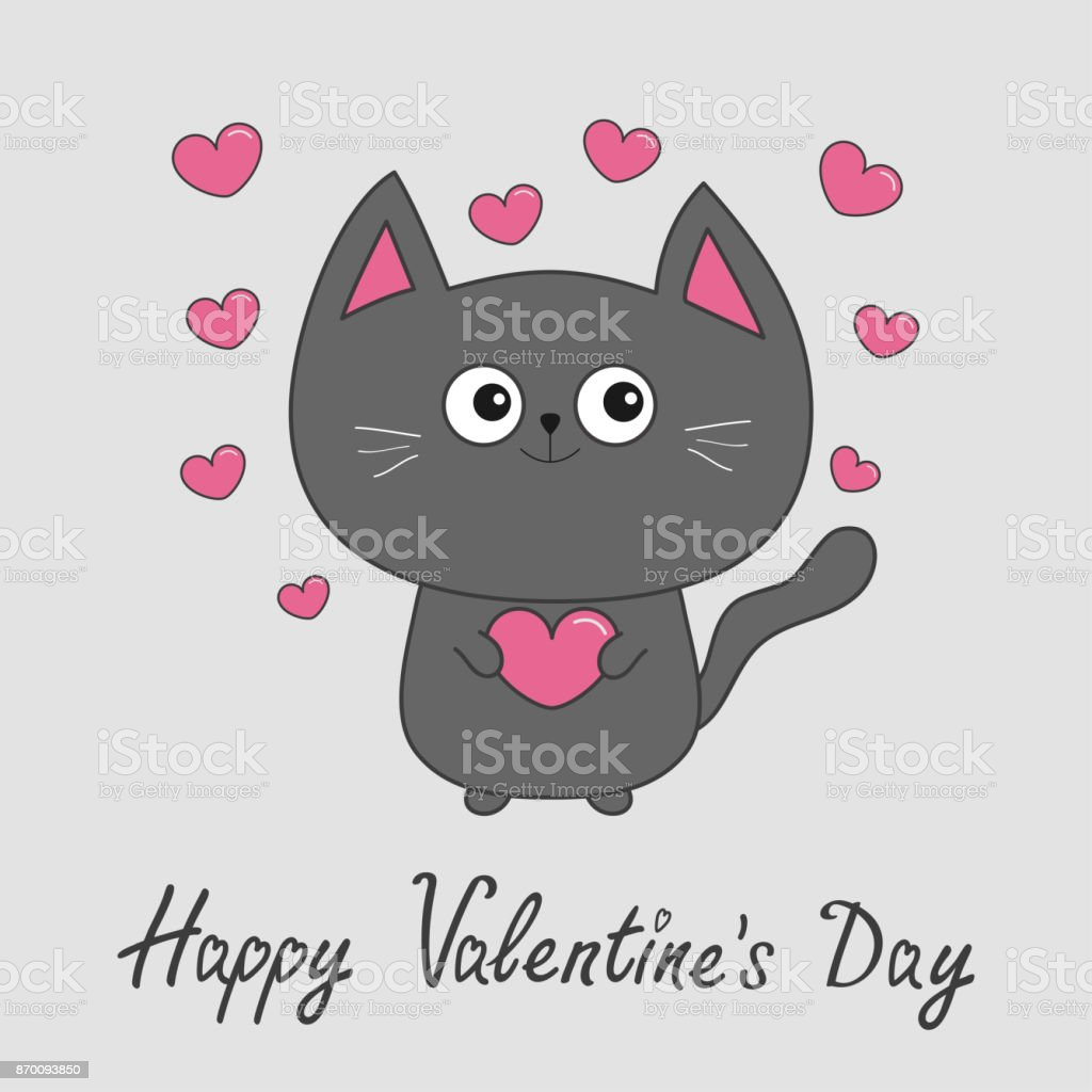 Happy Valentines Day. Gray contour cat holding pink heart set. Cute cartoon character. Kawaii animal Pet collection. Greeting card. Flat design. White background. vector art illustration