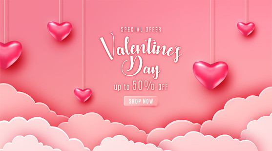 Happy valentines day greeting background in papercut realistic style. Paper clouds, flying realistic heart on string. Pink banner party invitation template. Calligraphy words text sign on copy space