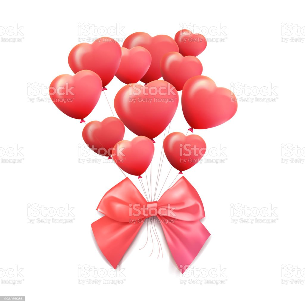 Happy Valentines Day Greeting Card 3d Red And Pink Balloon In Form