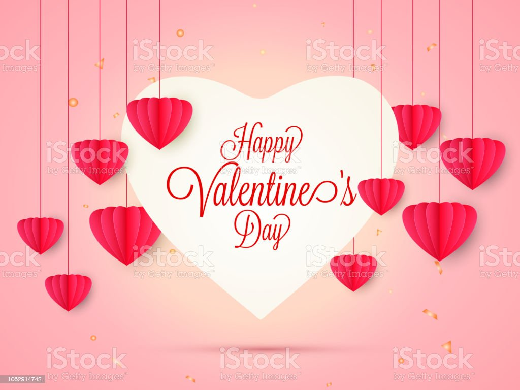 Happy valentines day origami hanging hearts clouds | Premium Vector | 768x1024