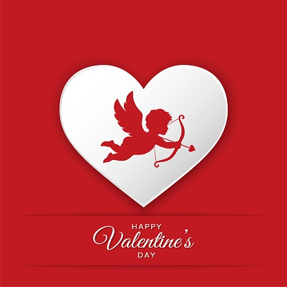 happy valentines day greeting card design. silhouette of cupid on heart background