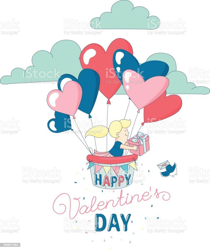 Happy Valentinstag Grusskarte Lustig Madchen Herz Luftballons Fliegen