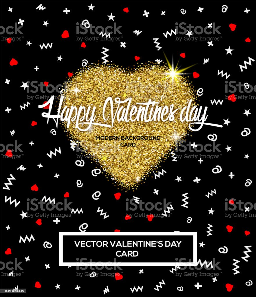 Happy Valentines Day Greeting Card Or Poster With Glitter Golden