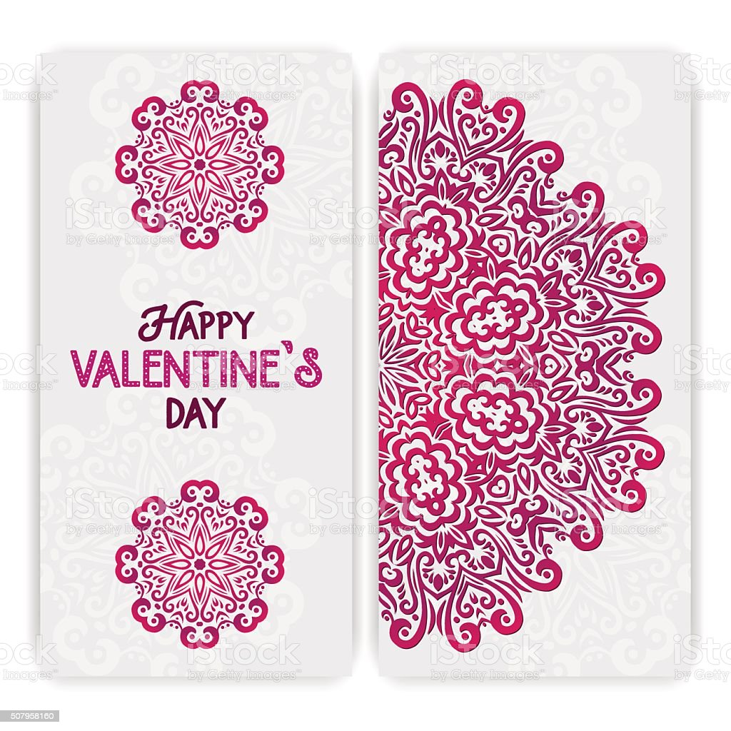 Happy Valentines Day Greeting Card Template Boho Romantic Indian – Valentines Card Template