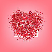 Happy Valentine's Day greeting card template. Vector red hearts and Happy Valentine's Day text on pink background.