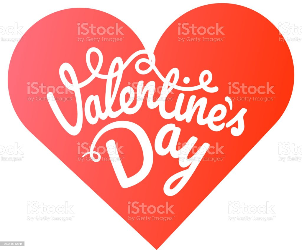 Happy Valentines Day Greeting Card Valentines Vector Label With Red