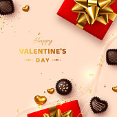 Happy Valentines day greeting card. 3d realistic gift box, metal hearts, sweets and lights garland. Beige background, love concept. Vector.