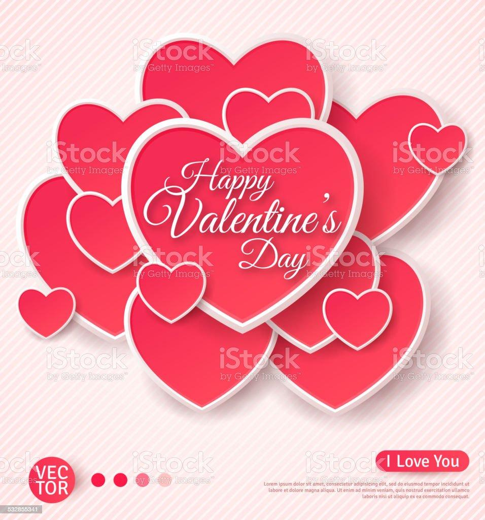 Ilustración de Feliz Día De San Valentín Tarjeta De Felicitación y ...