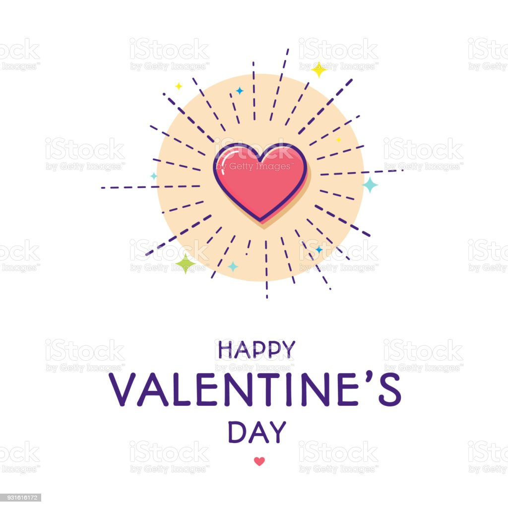 Happy Valentine's day greeting card. vector art illustration