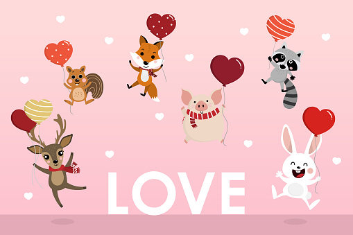 Happy Valentine's Day greeting card with cute animal hold the heart balloons. Deer, squirrel, fox, pig, racoon and rabbit cartoon character.