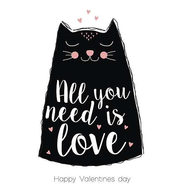Happy Valentines Day greeting card with cute cat Happy Valentines Day greeting card with cute cat,  motif and calligraphy text cat valentine stock illustrations