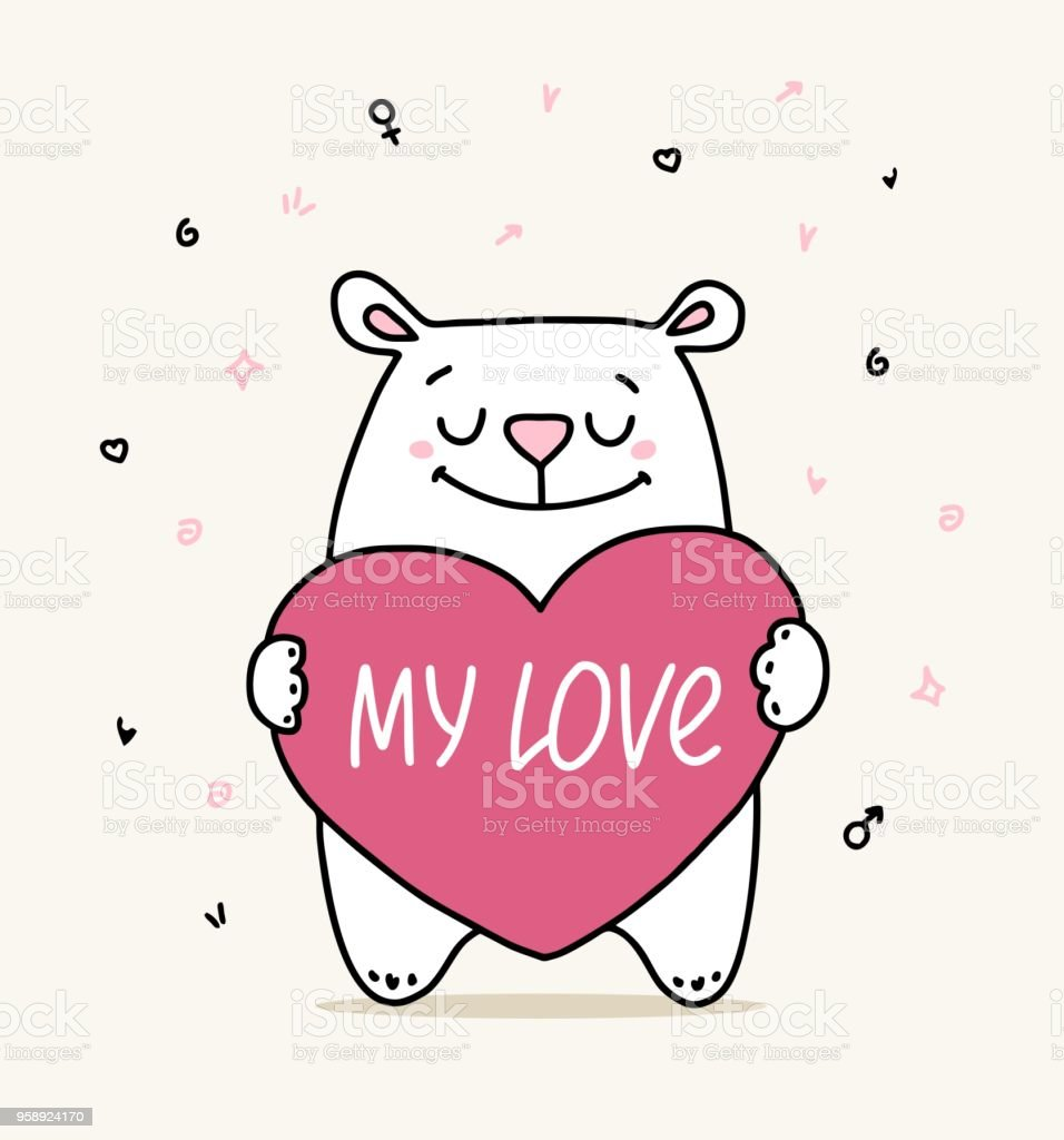 Happy Valentines Day Greeting Card With Cute Happy White Bear Hugs