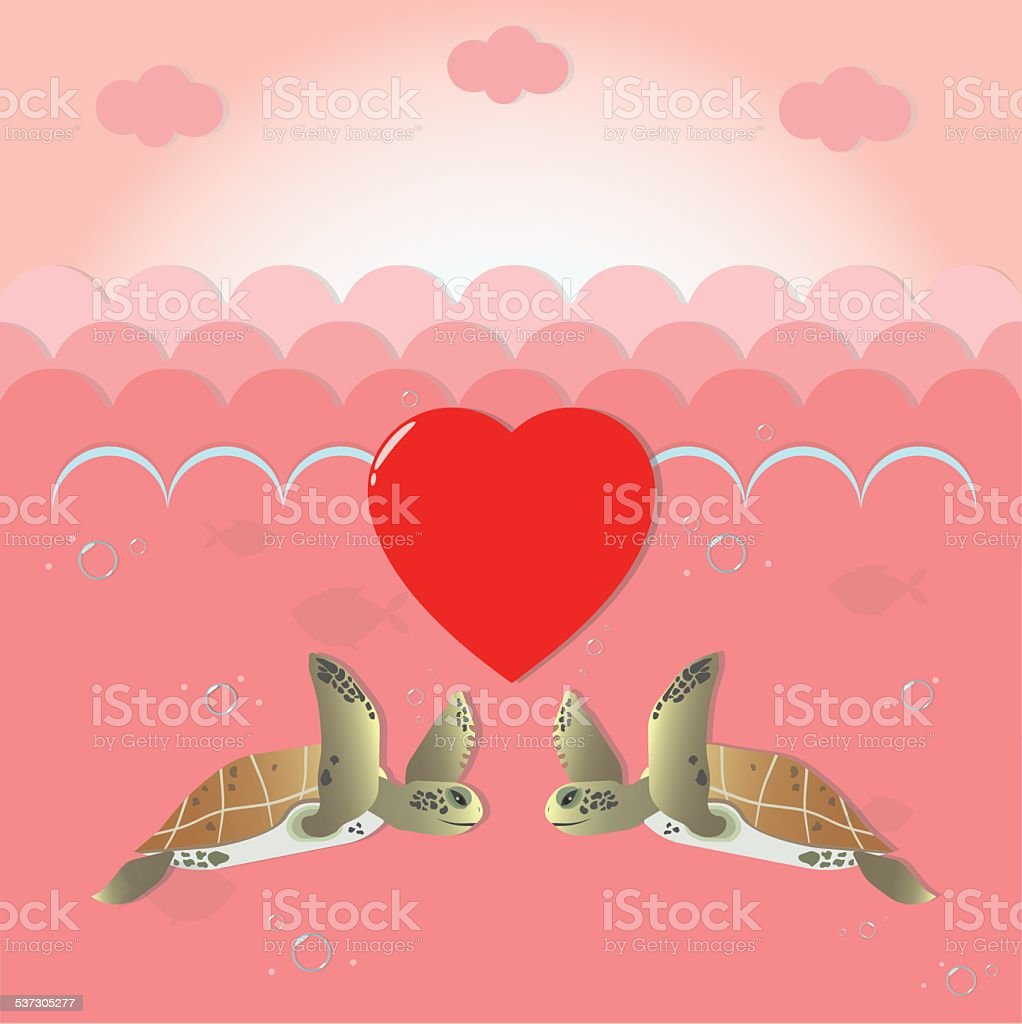 Happy valentines day greeting card with cute sea turtles stock happy valentines day greeting card with cute sea turtles royalty free happy valentines day greeting kristyandbryce Images