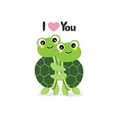 Happy Valentine's Day greeting card with cute turtles.