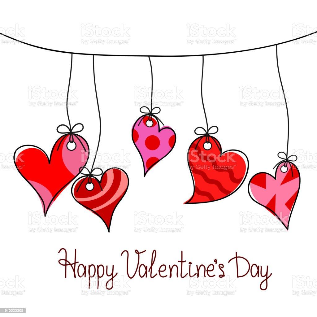Happy Valentinstag Grußkarte Mit Fünf Roten Herzen Hängen Am Seil ...