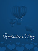 Vector illustration of Happy valentine's day greeting card with flying blue hot air balloon and hearts