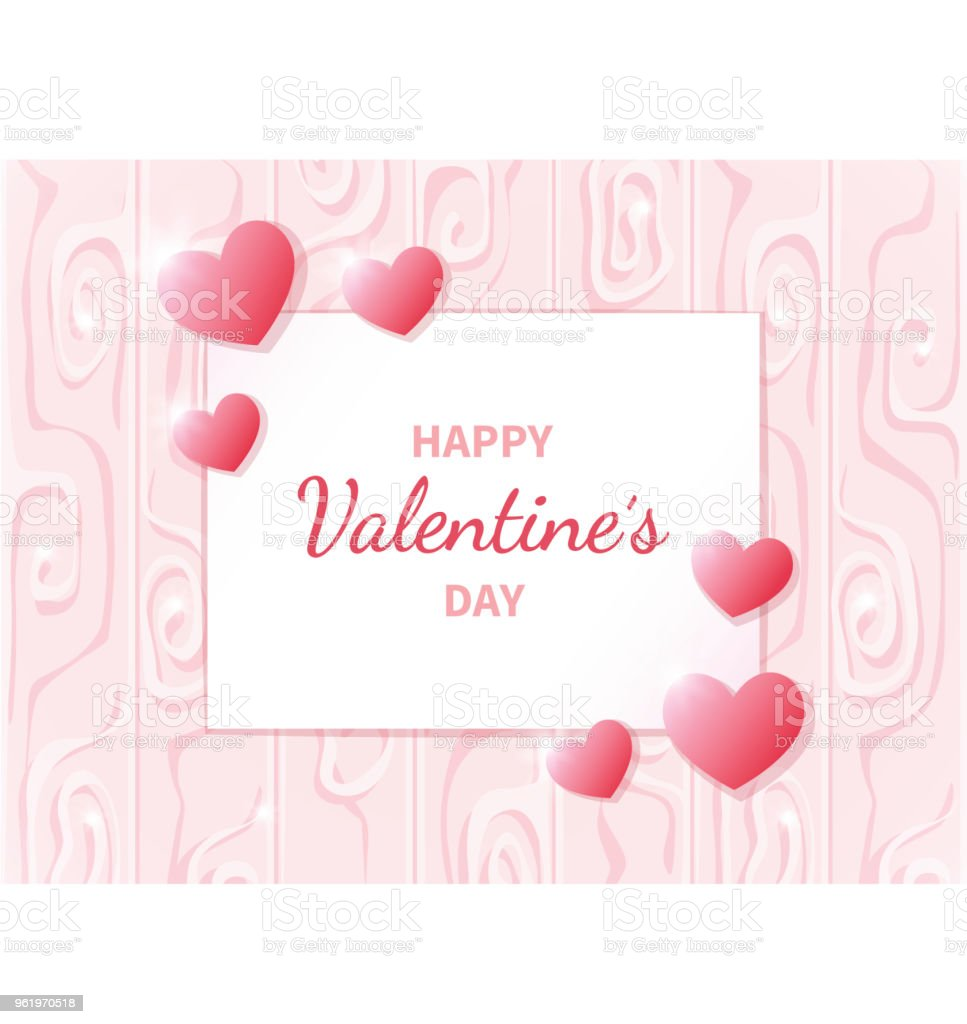 Happy Valentines Day Greeting Card With Hearts On The Abstract