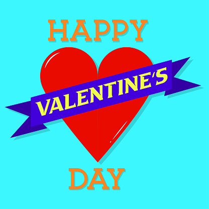 Happy valentine's day greeting card with typography and red love isolated on cyan background vector design