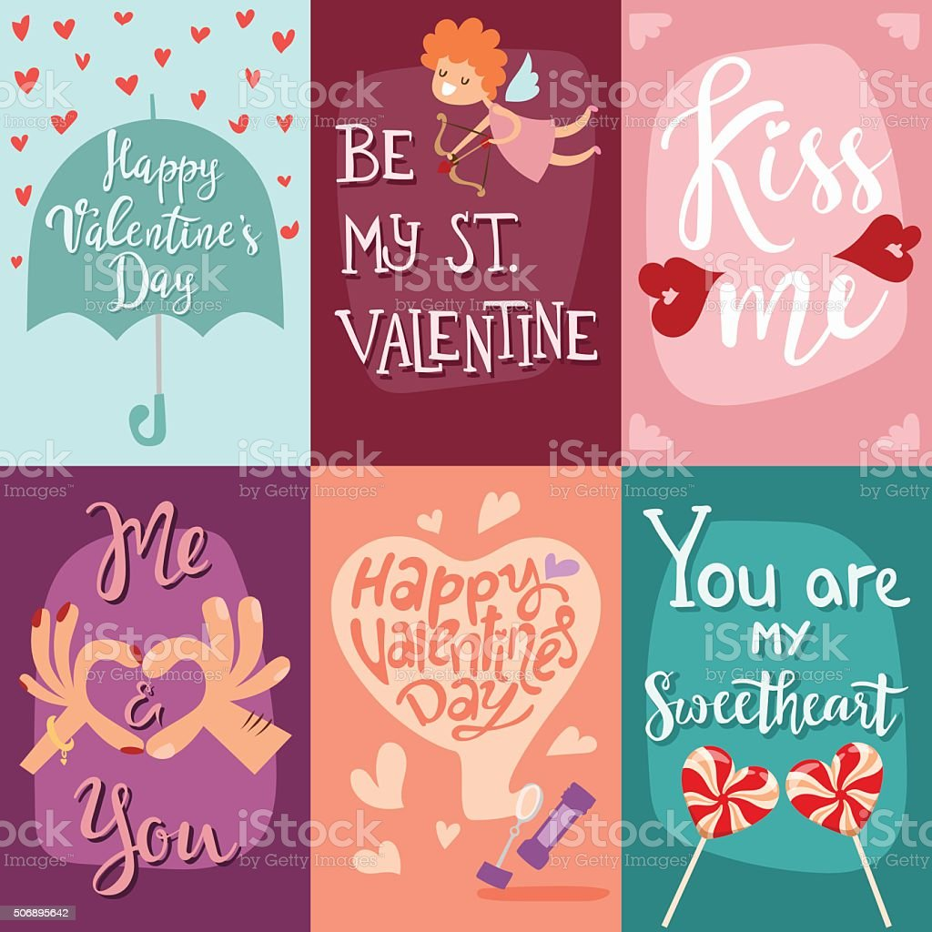 Happy Valentines Day Greeting Cards Vector Illustration Stock Vector