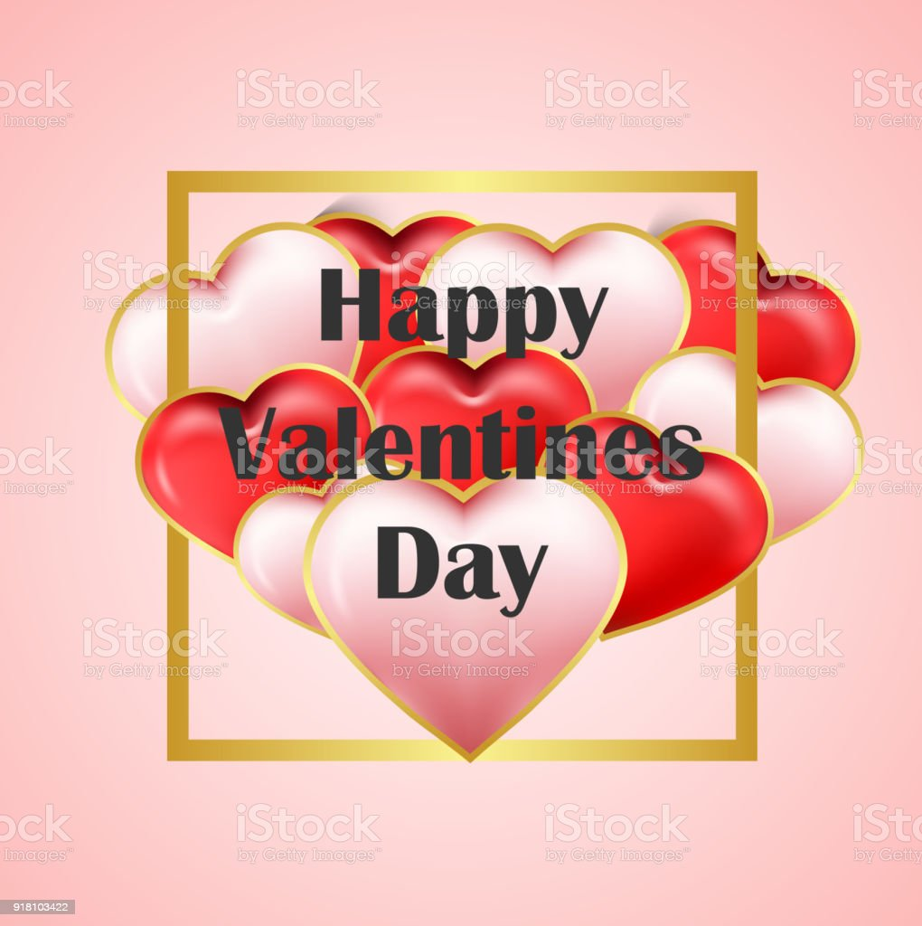 Happy Valentines Day Greeting Cards With White And Red Heart