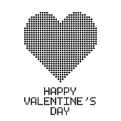 happy valentine's day, greetings card with black dotted heart