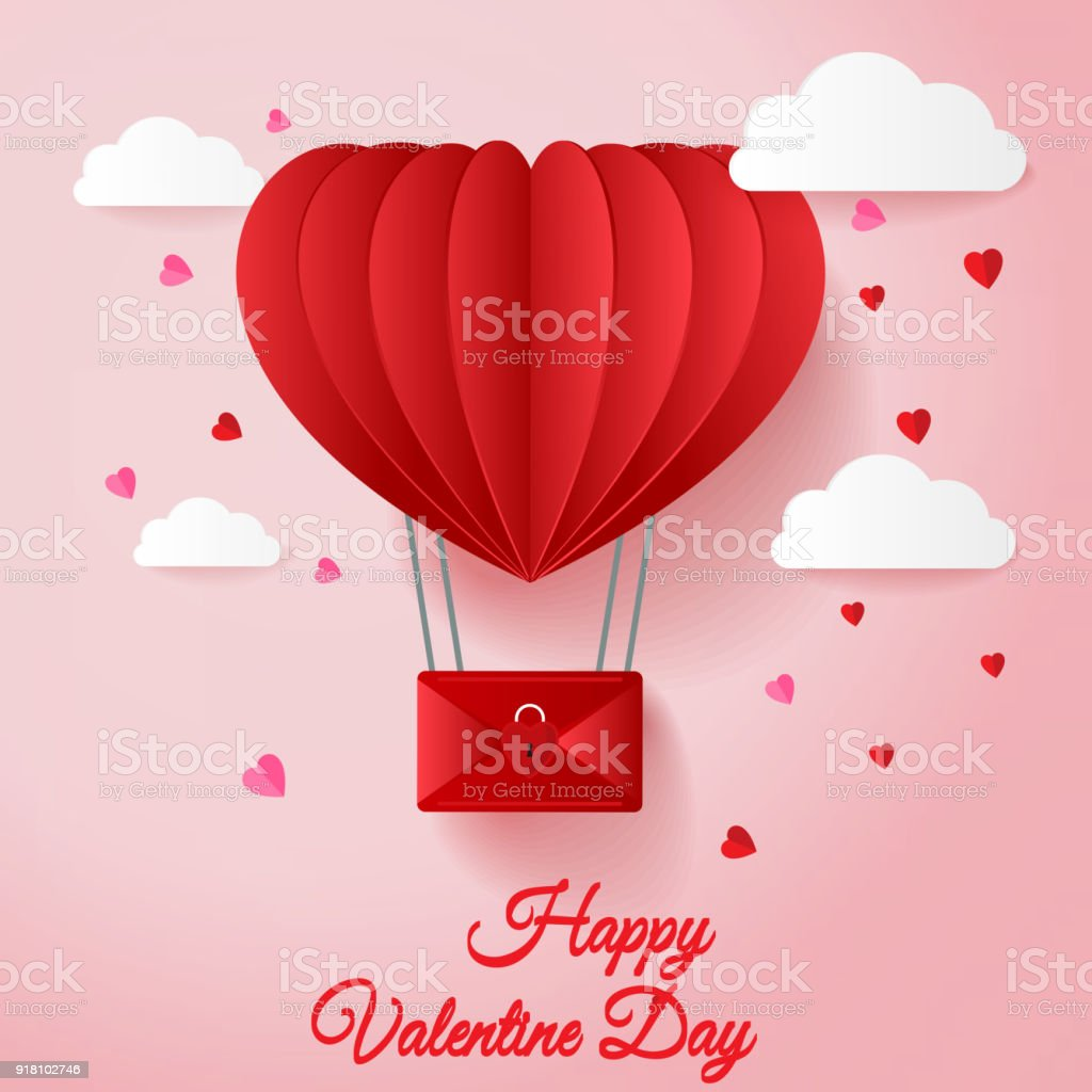 Happy valentines day greetings card with paper cut red heart shape happy valentines day greetings card with paper cut red heart shape hot air balloons flying and kristyandbryce Image collections