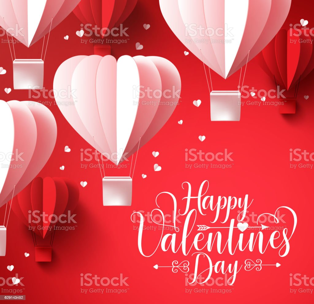 Happy valentines day  greetings with paper cut heart shape balloons vector art illustration