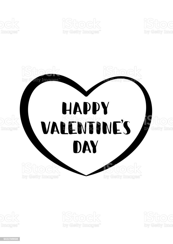 Happy Valentines Day. Hand drawn brush lettering with hearts isolated on white background. Vector illustration. vector art illustration