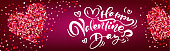Happy Valentines Day hand drawn calligraphic text in banner with hearts. For holiday greeting card, poster, banner, logo, sales, promo. Day of love and heart.