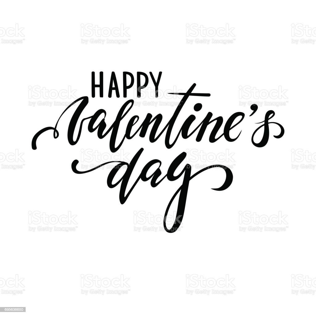 ¡Feliz día de San Valentín. Mano dibuja Letras de lápiz caligrafía y pincel creativo - ilustración de arte vectorial