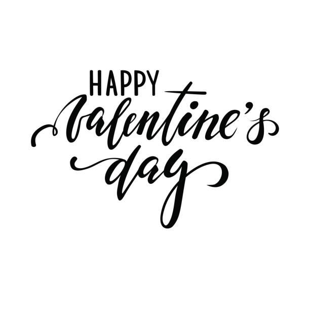 ilustraciones, imágenes clip art, dibujos animados e iconos de stock de ¡feliz día de san valentín. mano dibuja letras de lápiz caligrafía y pincel creativo - tipos de letra de tatuajes