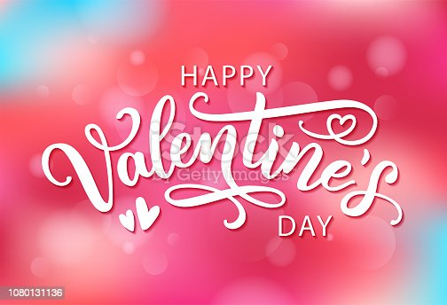 Happy Valentines Day with hearts shape greeting card on colorful background. Hand drawn text lettering for Valentines Day Vector illustration. Calligraphic design for print cards, banner, poster