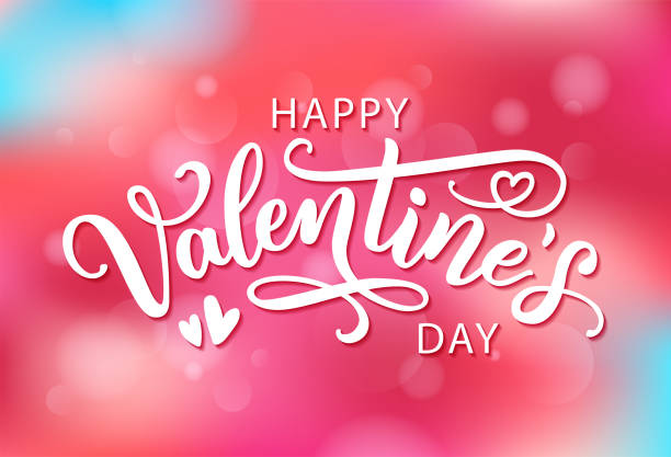 Happy Valentines Day hand drawn text greeting card. Vector illustration. Happy Valentines Day with hearts shape greeting card on colorful background. Hand drawn text lettering for Valentines Day Vector illustration. Calligraphic design for print cards, banner, poster happiness stock illustrations