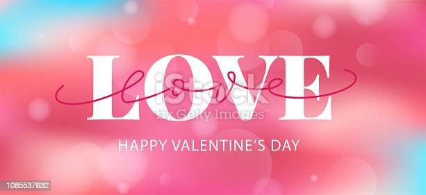 Happy Valentines Day. Vector illustration. Hand drawn text lettering for Valentines Day greeting card. Calligraphic design for print cards, pink banner for sale, poster