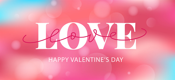 Happy Valentines Day hand drawn text greeting card. Vector illustration.