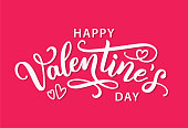 Happy Valentines Day with hearts shape greeting card on pink background.  Calligraphic design for print cards, banner, poster. Hand drawn text lettering for Valentines Day Vector illustration