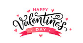 istock Happy Valentines Day hand drawn text greeting card. Vector illustration. 1196616568