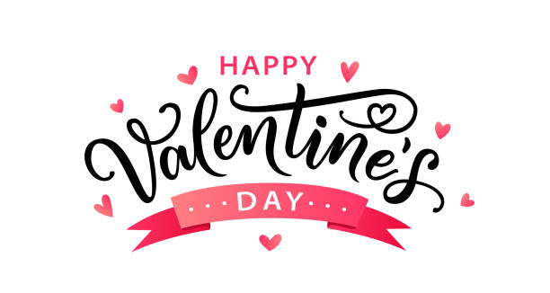 Happy Valentines Day hand drawn text greeting card. Vector illustration. Happy Valentines Day greeting card. Hand drawn text lettering for Valentines Day with hearts. Calligraphic design for print cards, banner, poster. Vector illustration isolated on white background. valentines day stock illustrations