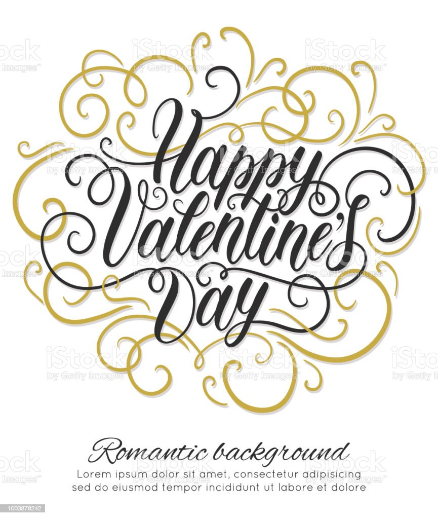 Happy Valentines Day Hand Lettering Background Can Be Used For