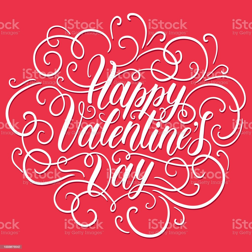 Happy Valentines Day Hand Lettering Can Be Used For Website